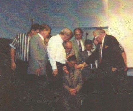 Rev. Daniel Fullmer (kneeling). L-R. Dave Berger, Phil Riemsma, Dan Hiler, Joe Murray, Pastor Fullmer Sr., Steve Boverhof, Pastor Pepe Morales, ?, and Pastor Clarence Roberts.