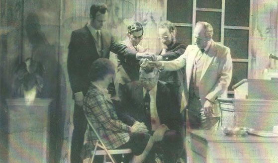 Dorthy & Clarence Roberts (seated), L-R. Doug Herens, Dan Hiler, Dennis Allerding and the Rev. George Taylor