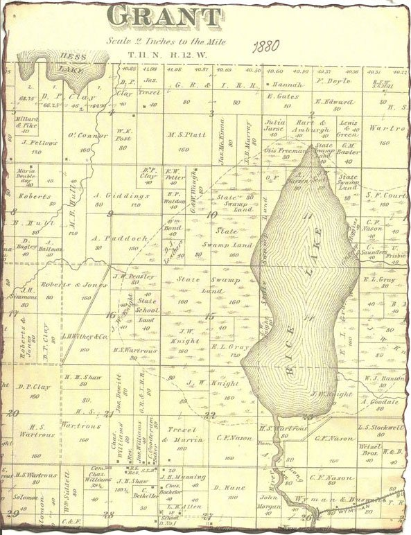 Map of Grant Township Michigan from 1880 showing the area before Rice Lake was drained to make the muck fields we see today.